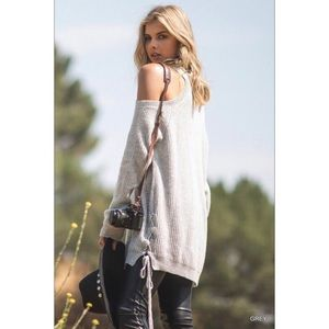 Sweaters - JUST IN! Open Shoulder Sweater - Gray